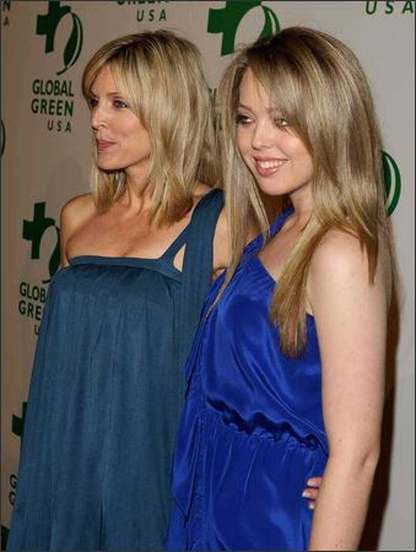 Socialite Marla Maples and Tiffany Trump arrive at Global Green USA's 6th Annual Pre-Oscar Party held at Avalon Hollwood in Hollywood, California.