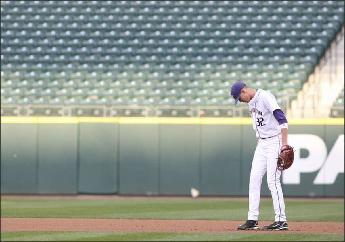 UW's Troy Scott shuffles his feet during the Huskies' 3-1 loss to Arizona State at Safeco Field on Friday.