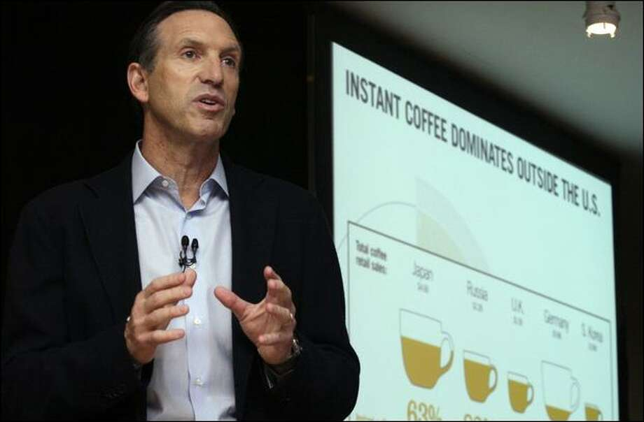 Howard Schultz, chairman and CEO of Starbucks Corp., speaks in New York at the launch of the company's Via Ready Brew, instant coffee that it will roll out in March. Photo: Tina Fineberg/Associated Press