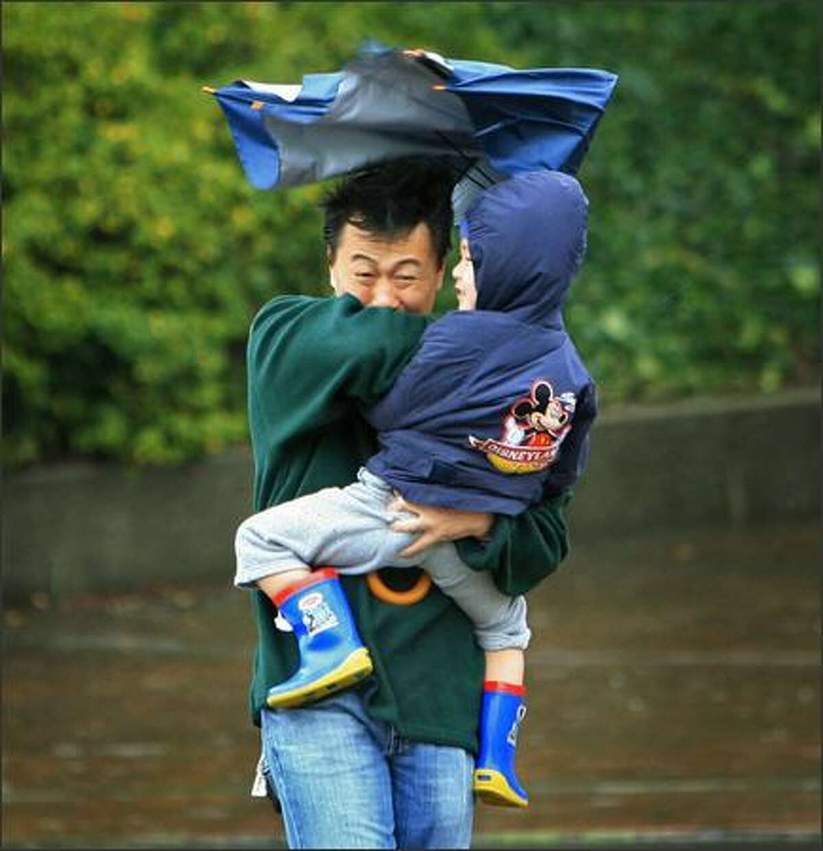 As a gust of wind strikes, Kevin Lee of Bellevue hangs onto his 3-year-old son Casey and his umbrella while waiting to cross Alaskan Way on the way to the Seattle Aquarium.