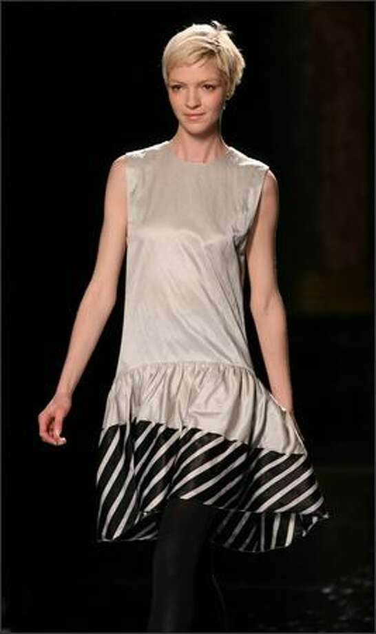 A model presents a creation from McCartney's fall/winter 2006-07 collection shown in Paris. Photo: Reuters