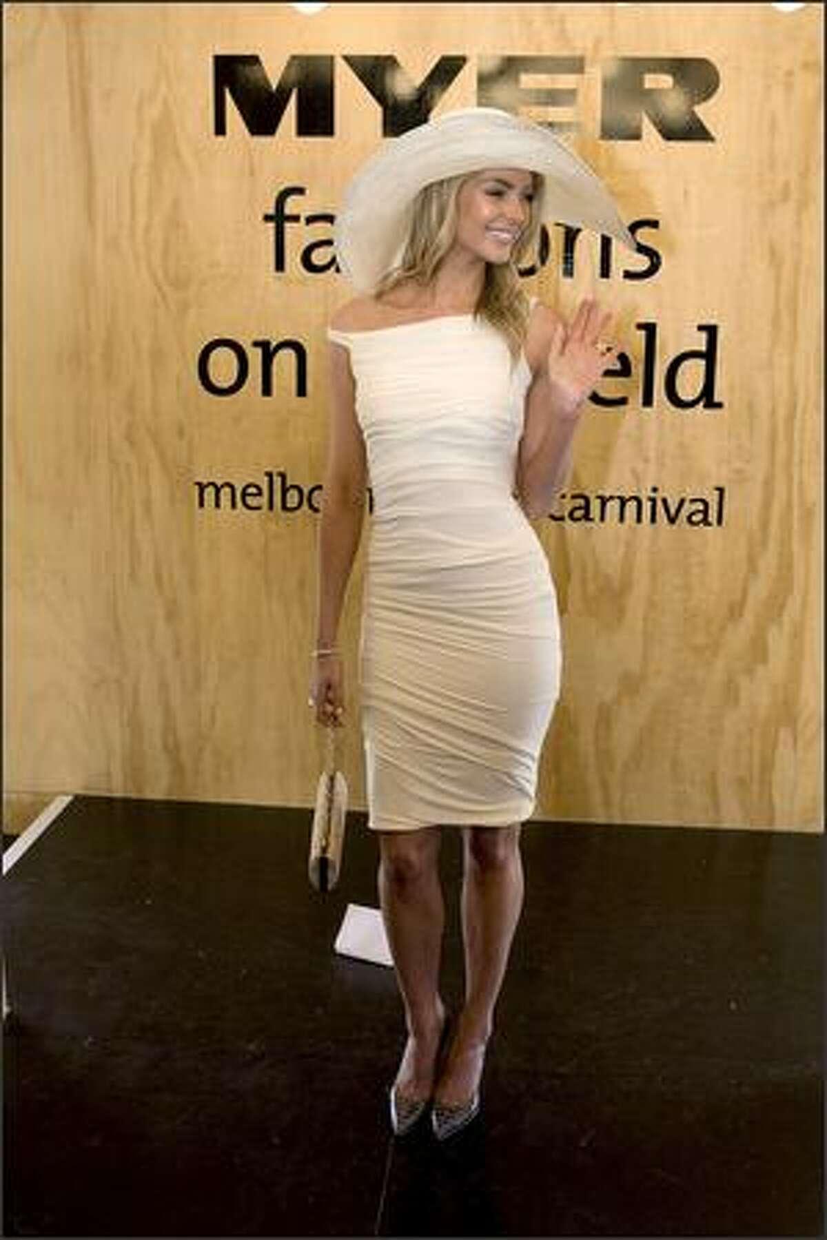 Jennifer Hawkins attends Derby Day. Hawkins was Miss Universe 2004.