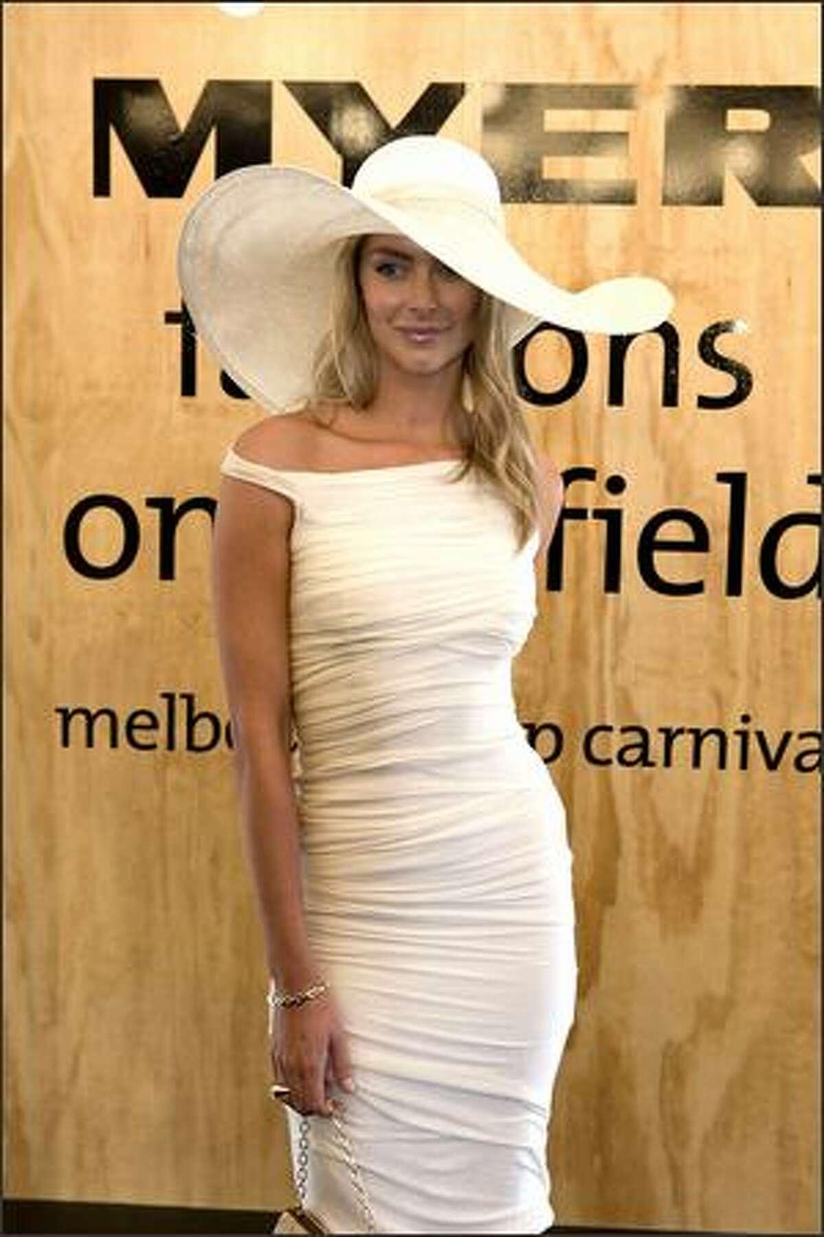 Jennifer Hawkins attends Derby Day.