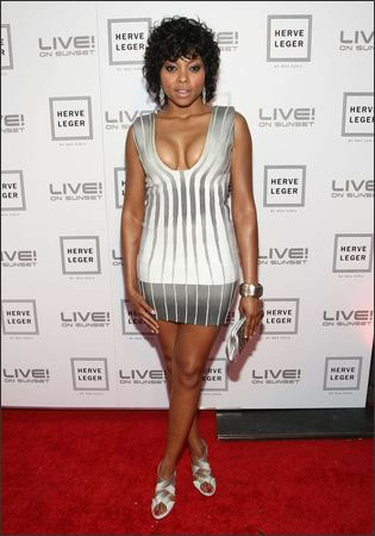 Actress Taraji P. Henson arrives at the Herve Leger by Max Azria Collection Launch party held at Live! on Sunset in West Hollywood, California.