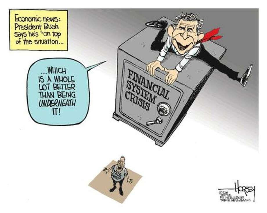Bush on the economy... Photo: David Horsey, Seattle Post-Intelligencer