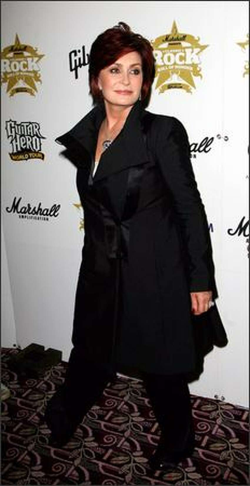 Sharon Osbourne arrives for the Classic Rock Roll of Honour at the Park Lane Hotel on Monday in London.