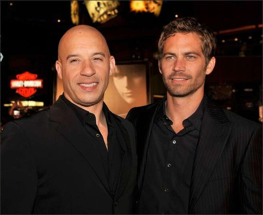 Actors Vin Diesel (left) and Paul Walker arrive. Photo: Getty Images