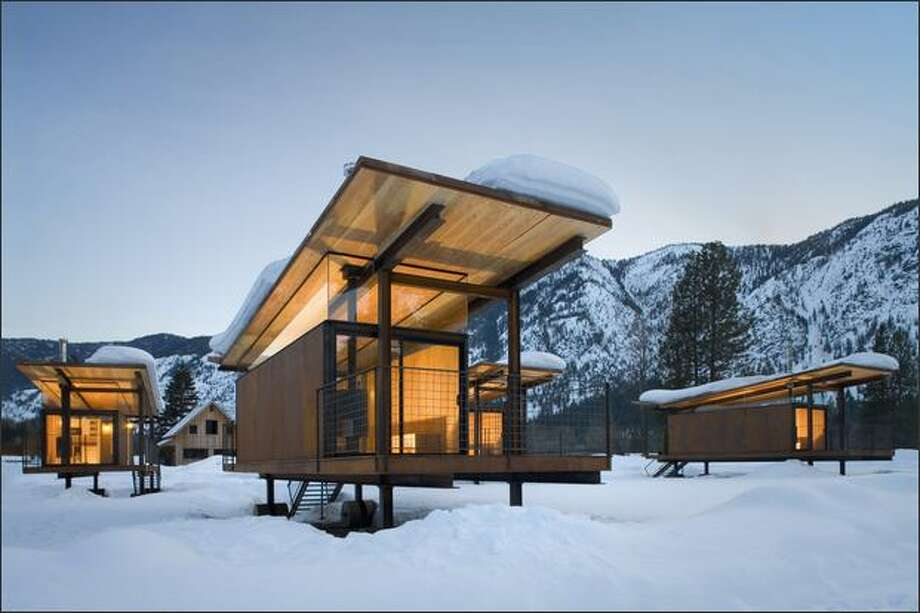 Olson Sundberg Kundig Allen designed the Rolling Huts guesthouses on wheels for a Methow Valley client who faced local land-use ordinances that wouldn't allow cabins. Photo: Tim Bies