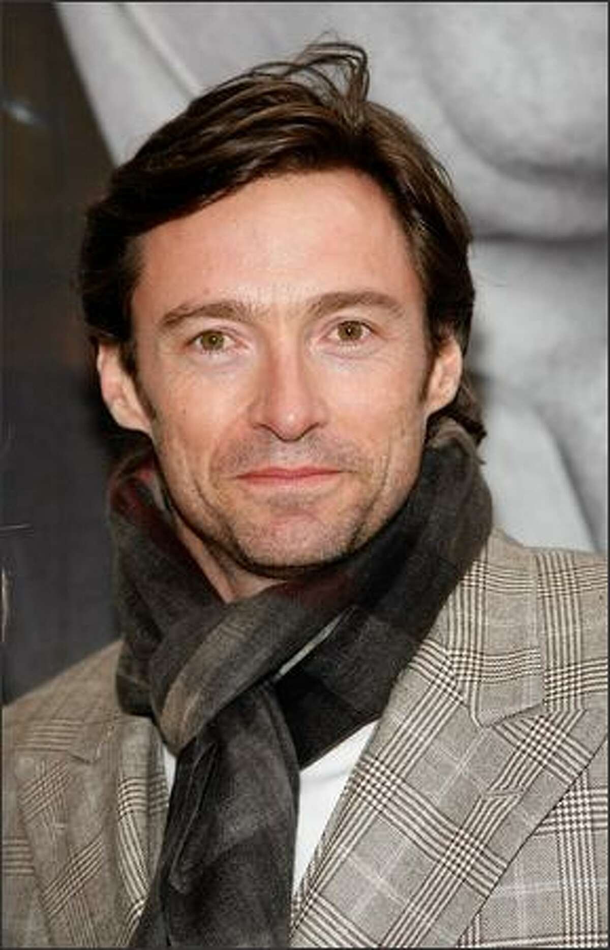 """Actor Hugh Jackman attends the Broadway opening of """"God Of Carnage"""" at Bernard Jacobs Theatre in New York City."""