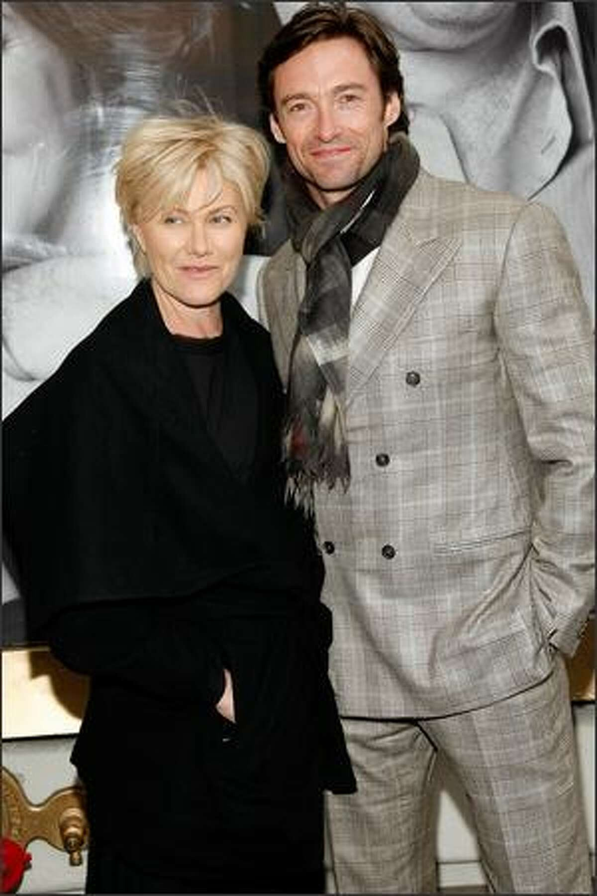 """Actress Deborra-Lee Furness and Actor Hugh Jackman attends the Broadway opening of """"God Of Carnage"""" at Bernard Jacobs Theatre in New York City."""
