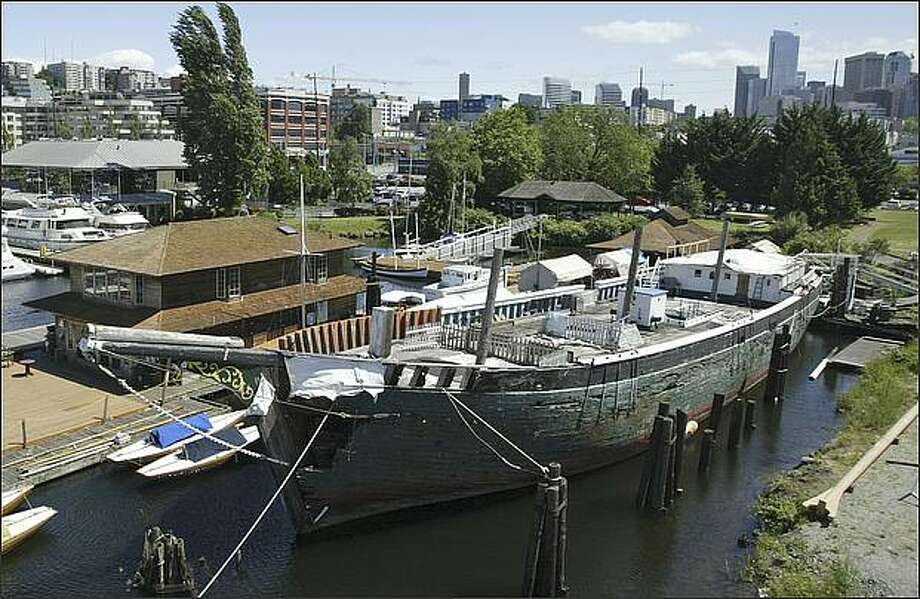 The schooner Wawona sits at a dock on the south end of Lake Union on June 16, 2006. The badly deteriorated Wawona will be moved Monday from its moorage to a nearby dry dock to be dismantled. Photo: Gilbert W. Arias/Seattle Post-Intelligencer