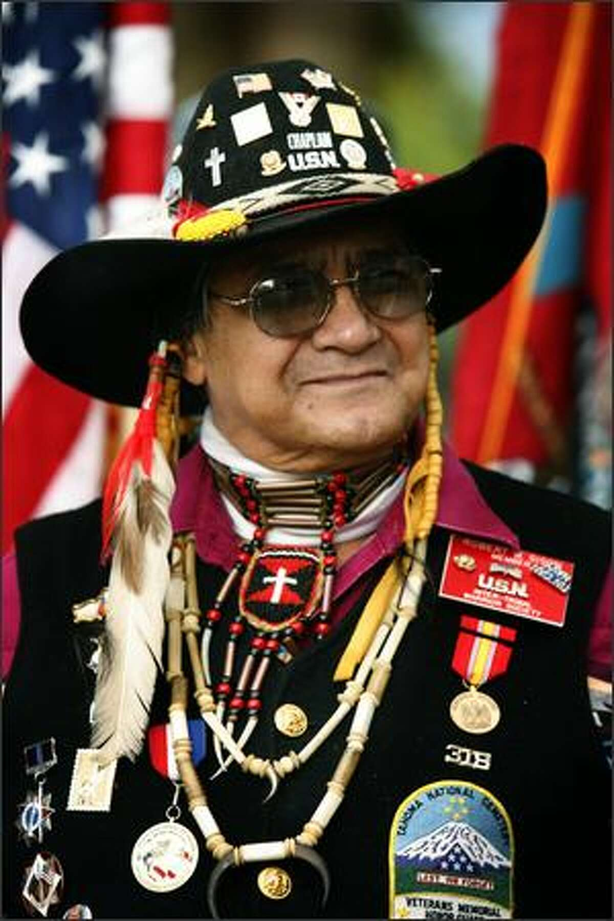 Robert Sison, 72, a Navy vet who lives on the Nisqually reservation, is chaplain for the Inter-Tribal Warrior Society.