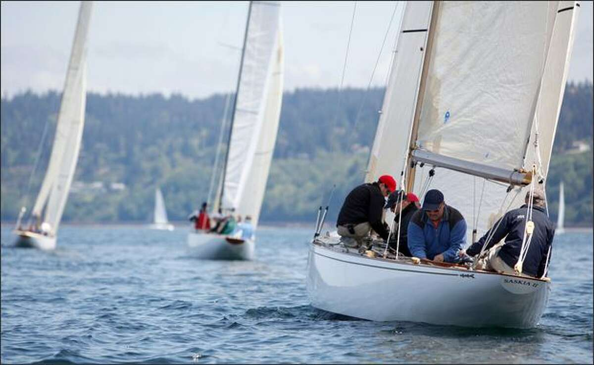 The Saskia II, a 6-Meter from Vancouver, races at the 2009 NOOD Regatta in Seattle on Friday.