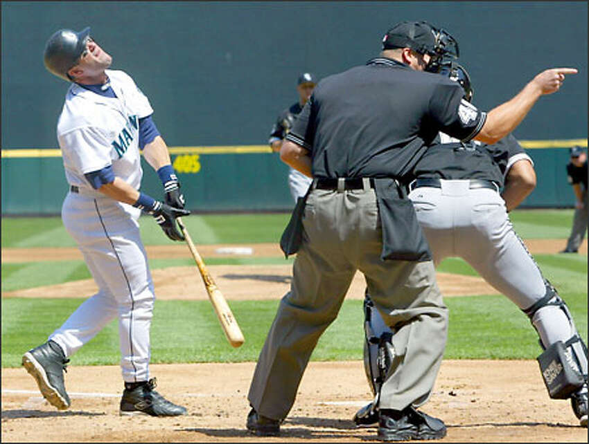 A strike is called against Seattle Mariner Edgar Martinez during the first inning against the White Sox.
