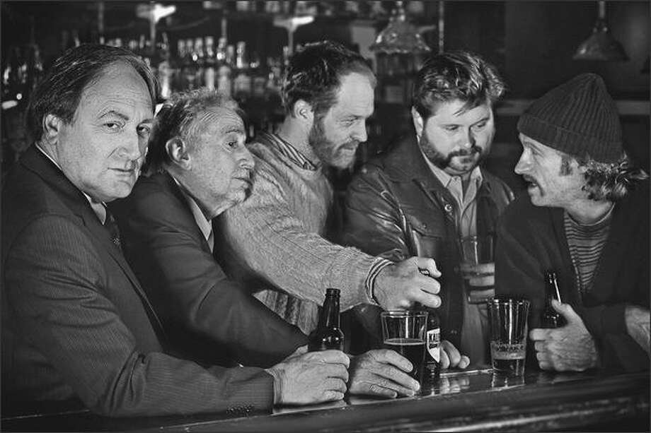 """Stepping up to the bar in the Rep's """"The Seafarer"""" are, from left: Frank Corrado as Mr. Lockhart, Sean G. Griffin as Richard, Hans Altwies as Sharky, Shawn Telford as Nicky and Russell Hodgkinson as Ivan. Photo: Derek Sparks"""