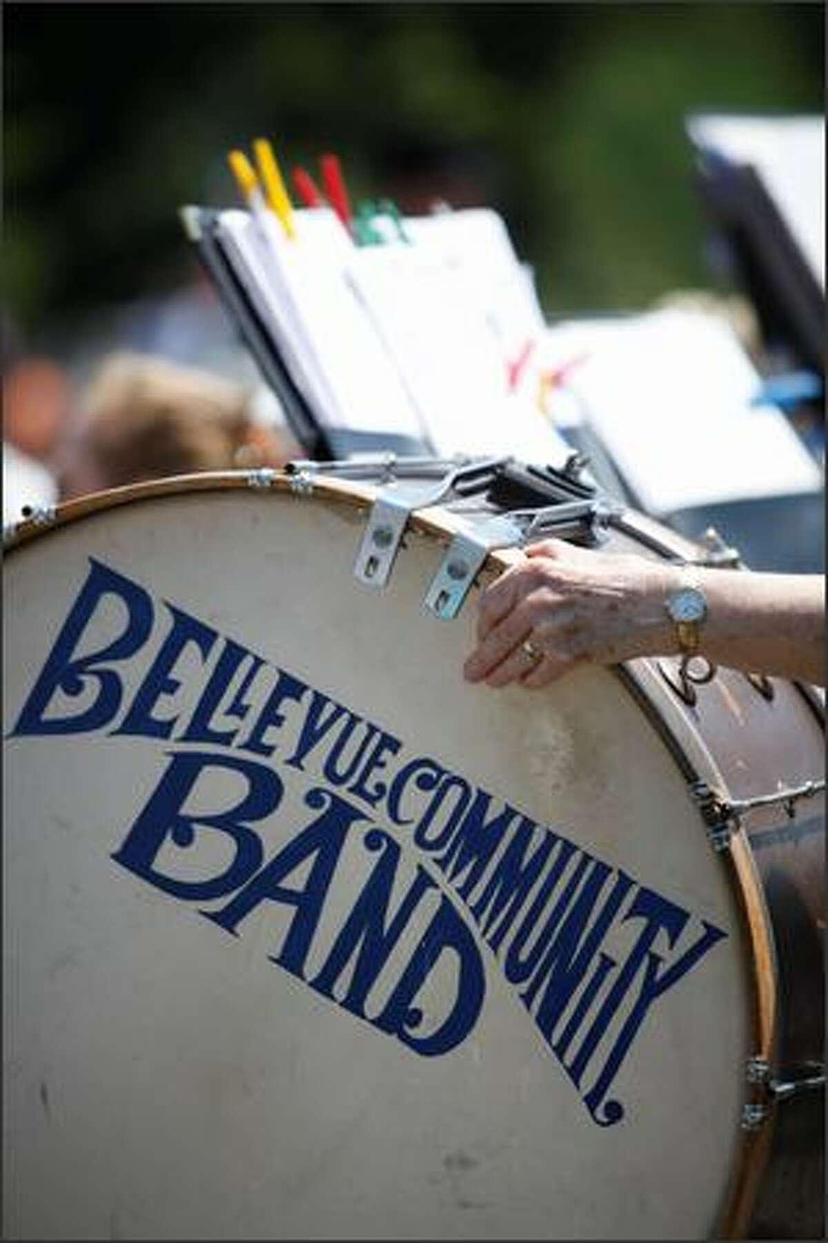 The Bellevue Community Band performs during the Memorial Day celebration Monday at Tahoma National Cemetery in Kent.