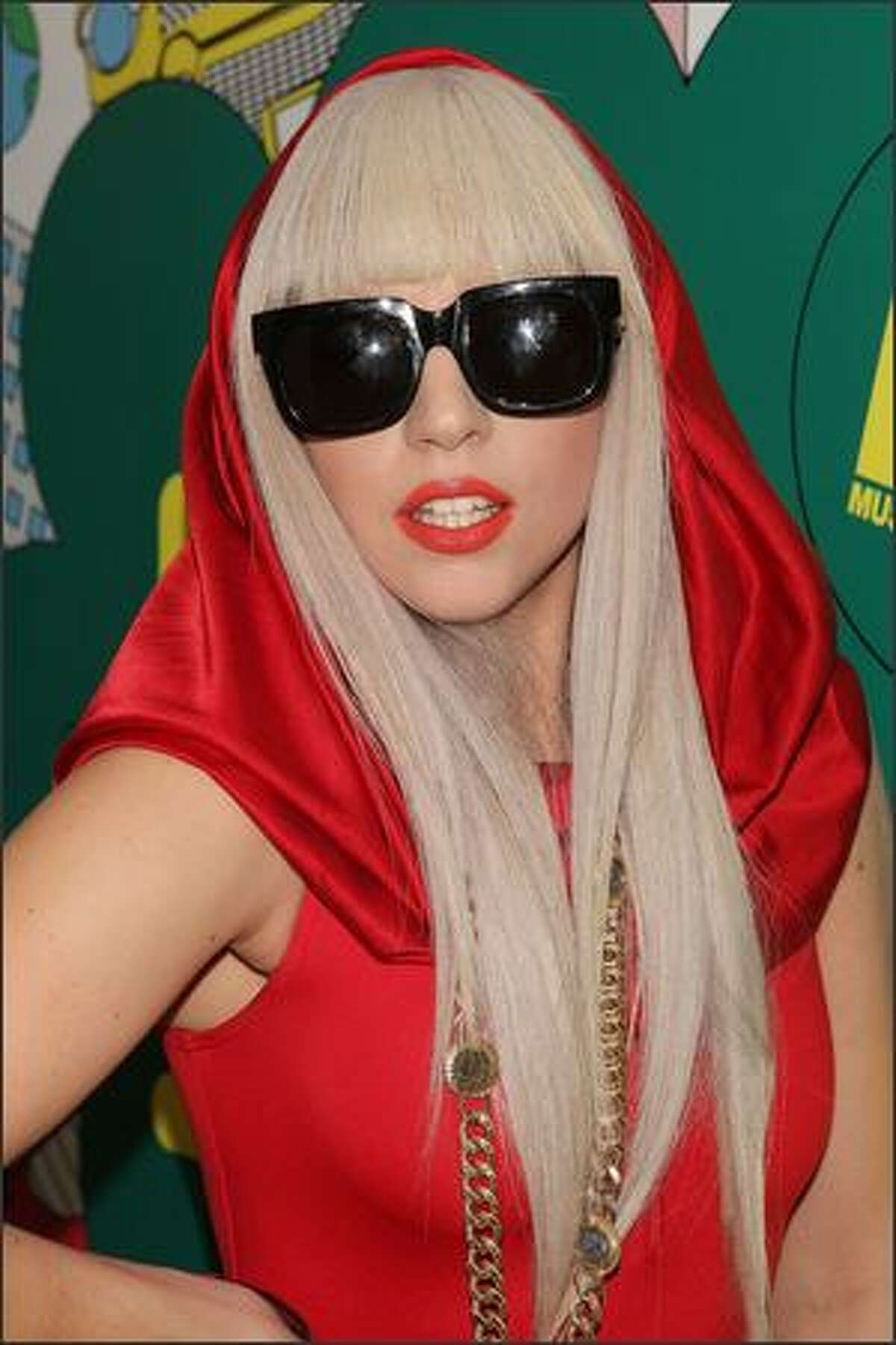 Lady Gaga poses backstage during MTV's Total Request Live at the MTV Times Square Studios August 12, 2008 in New York City.