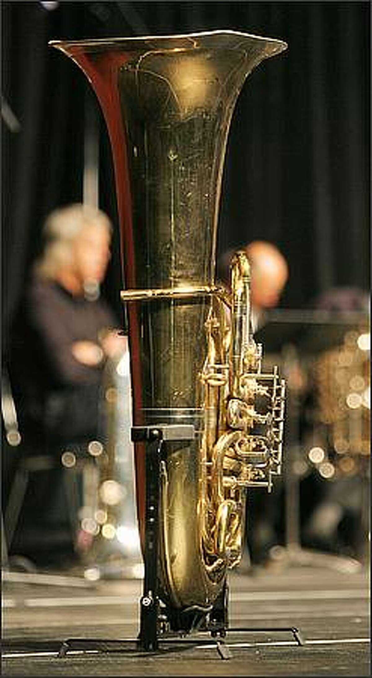 Slain Tuba Man, Edward McMichael's tuba stands on display at a memorial service held at the Qwest Field Events Center in Seattle.