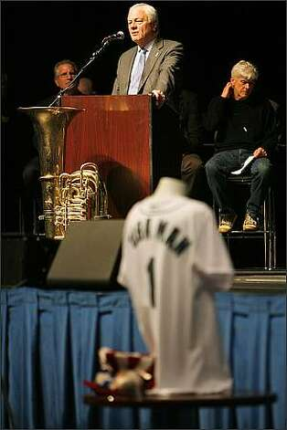 "Seattle Mariners president Chuck Armstrong speaks during a Nov. 2008 memorial service for ""Tuba Man"" Edward McMichael held at the Qwest Field Events Center in Seattle. Photo: Mike Urban, Seattle Post-Intelligencer"