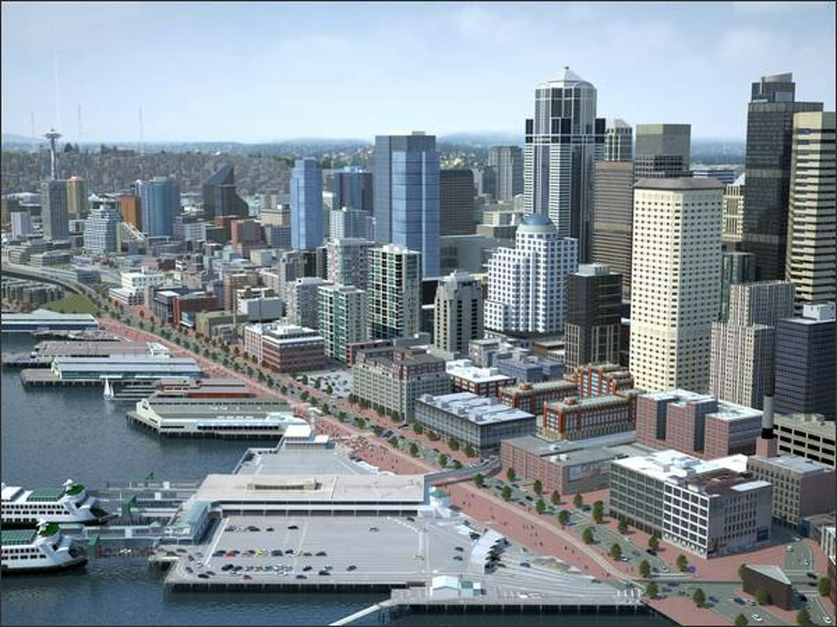 Scenario C -- Alaskan Way/Western Avenue pair. This scenario would create a pair of north and southbound one-way streets along the waterfront. Western Avenue would become a one-way northbound street, and Alaskan Way would become a one-way southbound street.