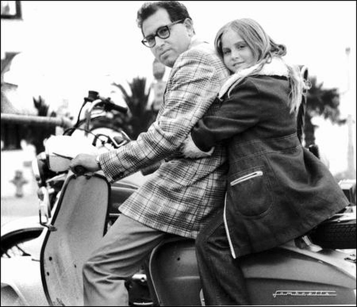 Delaney Ruston sits on a scooter with her father, Richard Ruston, in the Los Angeles area in 1975.