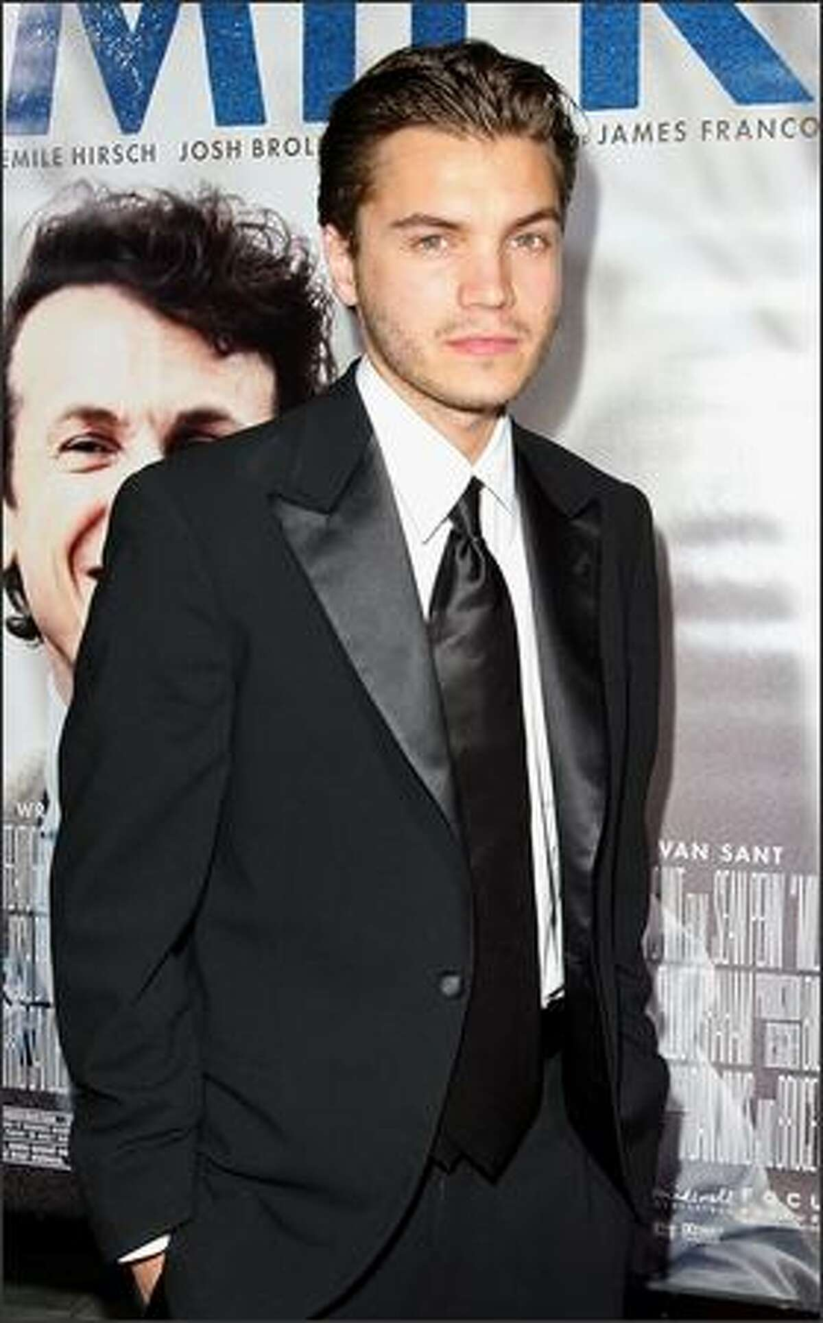 """Actor Emile Hirsch arrives at the Los Angeles premiere of Focus Features' """"Milk"""" held at the Academy of Motion Picture Arts and Sciences on Thursday in Beverly Hills, Calif."""