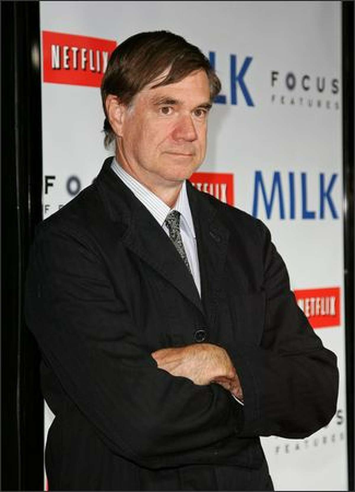 """Director Gus Van Sant arrives at the Los Angeles premiere of Focus Features' """"Milk"""" held at the Academy of Motion Picture Arts and Sciences on Thursday in Beverly Hills, Calif."""