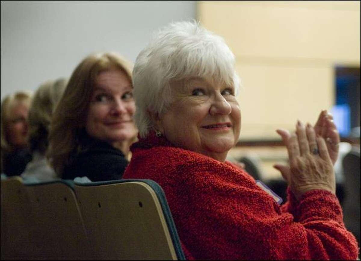Rose Stevenson, widow of Seattle Fire Department Capt. Stan Stevenson, attends a celebration of the Mental Health Court.
