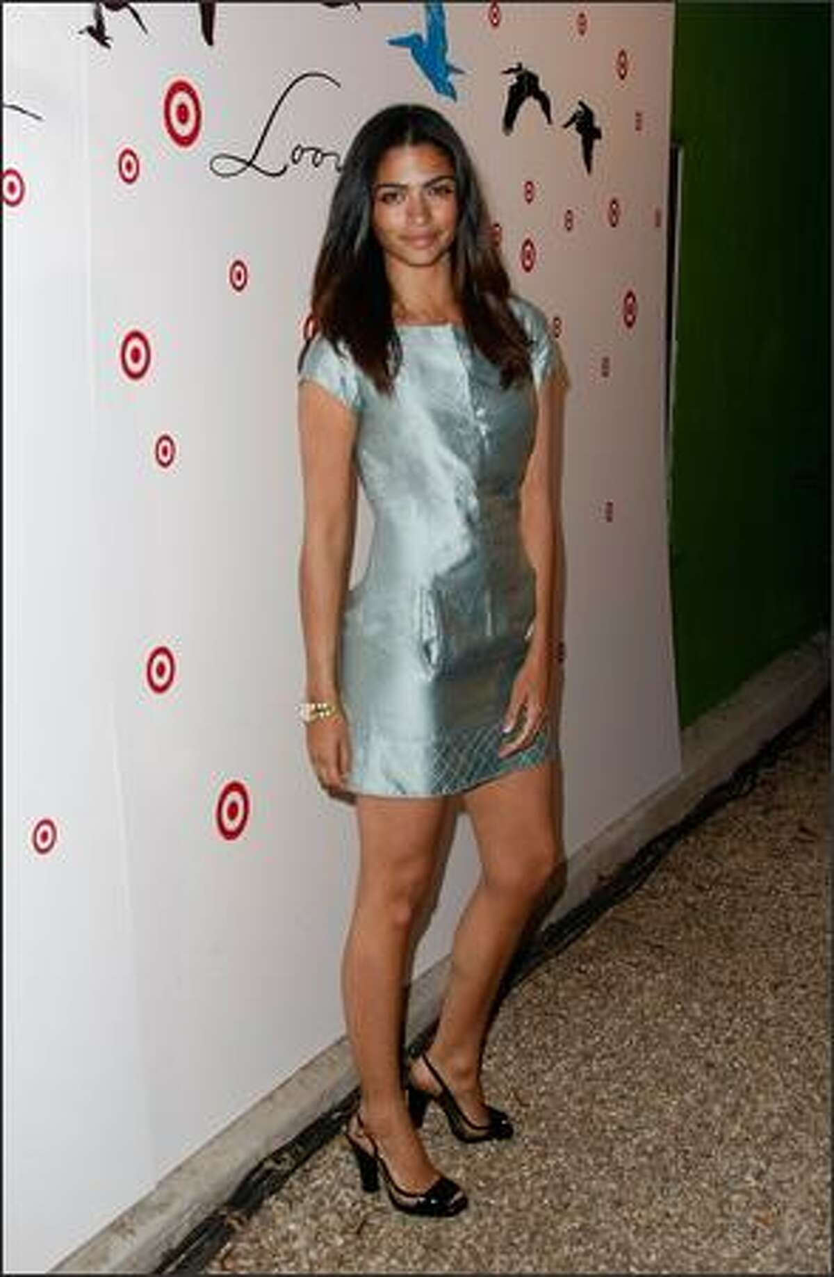 Model Camilla Alves arrives for the launch of Loomstate For Target Collection at the Big Red Sun in Venice, California.