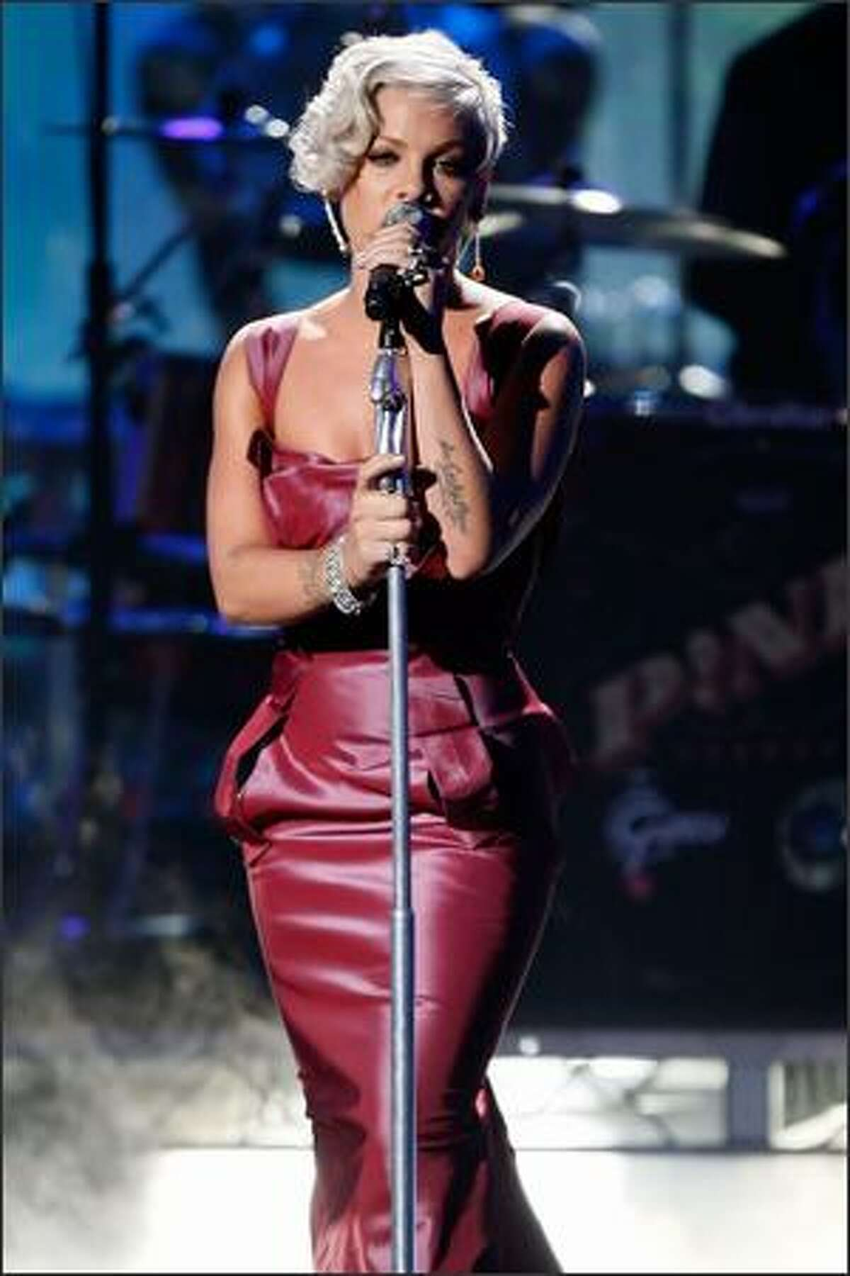 Singer Pink performs during the 2008 American Music Awards held at the Nokia Theatre in Los Angeles on Sunday, Nov. 23.