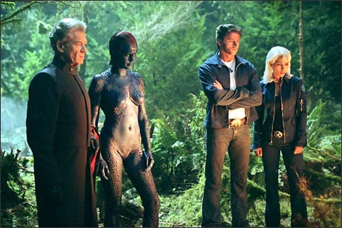 Magneto (Ian McKellen, left) and Mystique (Rebecca Romijn-Stamos) form an unexpected alliance with the X-Men, including Wolverine (Hugh Jackman) and Storm (Halle Berry).