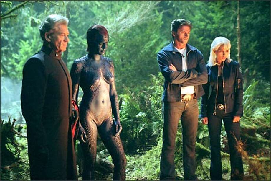Magneto (Ian McKellen, left) and Mystique (Rebecca Romijn-Stamos) form an unexpected alliance with the X-Men, including Wolverine (Hugh Jackman) and Storm (Halle Berry). Photo: Fox