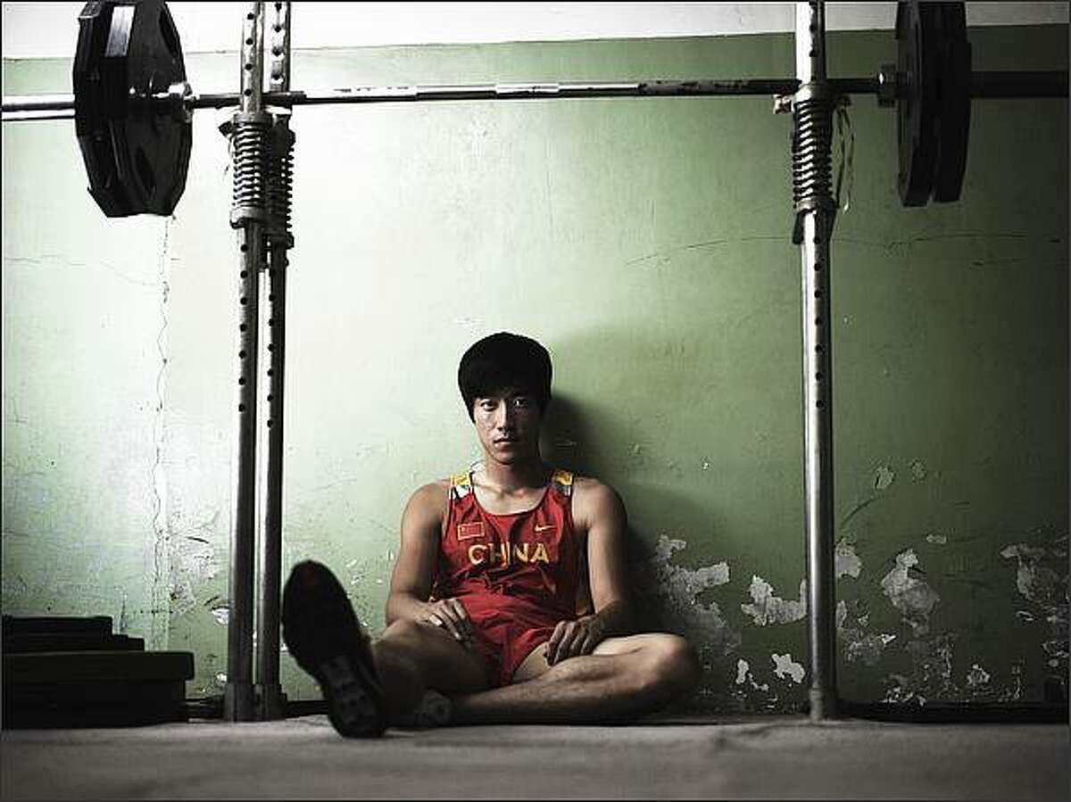 Liu Xiang poses for a portrait shoot at the National Sports Training Centre in Beijing, China.
