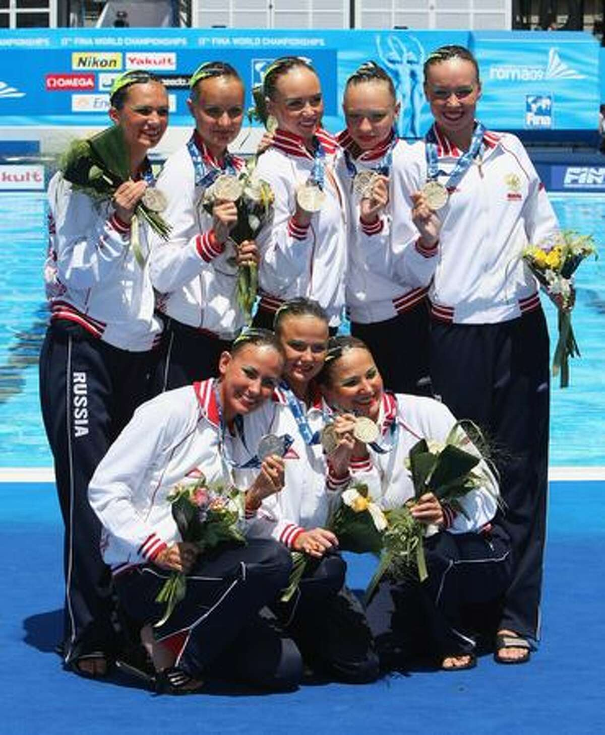 Team Russia celebrate winning Gold after the Womens Synchronised Swimming Team Technical Final at the Stadio del Nuoto Sincronizzato on Sunday in Rome, Italy.