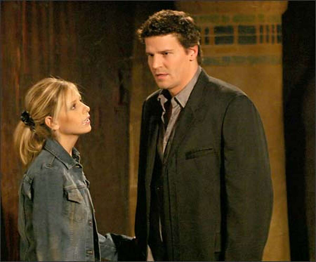 Angel (David Boreanaz) returns to Sunnydale and to a grateful Buffy (Sarah Michelle Gellar) in