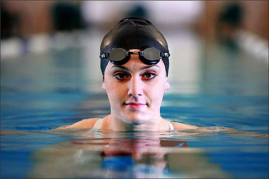 Mercer Island High School swimmer Rachel Godfred. Photo: Scott Eklund, Seattle Post-Intelligencer