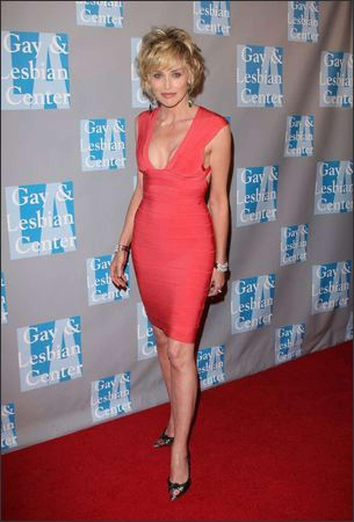 Actress Sharon Stone arrives.