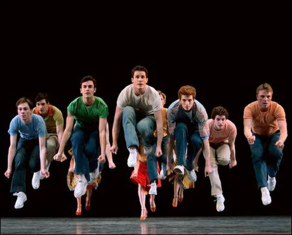 "Pacific Northwest Ballet dancers, including soloist Seth Orza (center) as Riff, perform ""Cool"" from Jerome Robbins' ""West Side Story Suite."" Photo: Angela Sterling"