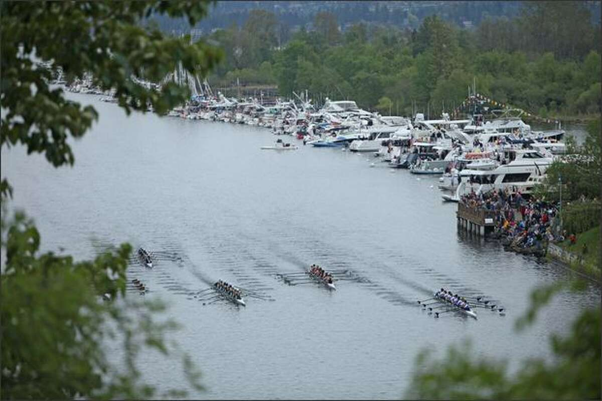 Crew shells race in the Windermere Cup as boaters watch from the side of the course on Lake Washington. (Tim Willis/seattlepi.com)