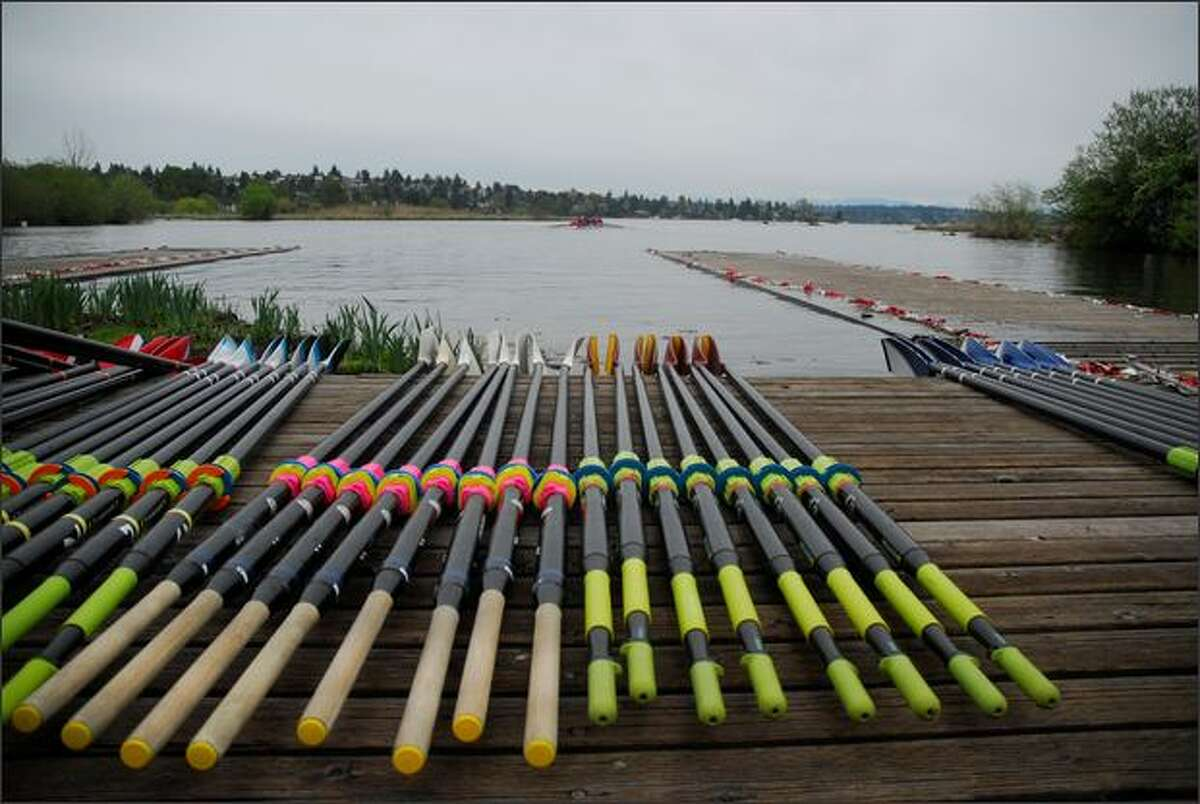 Various teams' oars are lined up on the dock prior to the Windermere Cup races on Union Bay in Seattle, Saturday, May 2, 2009.