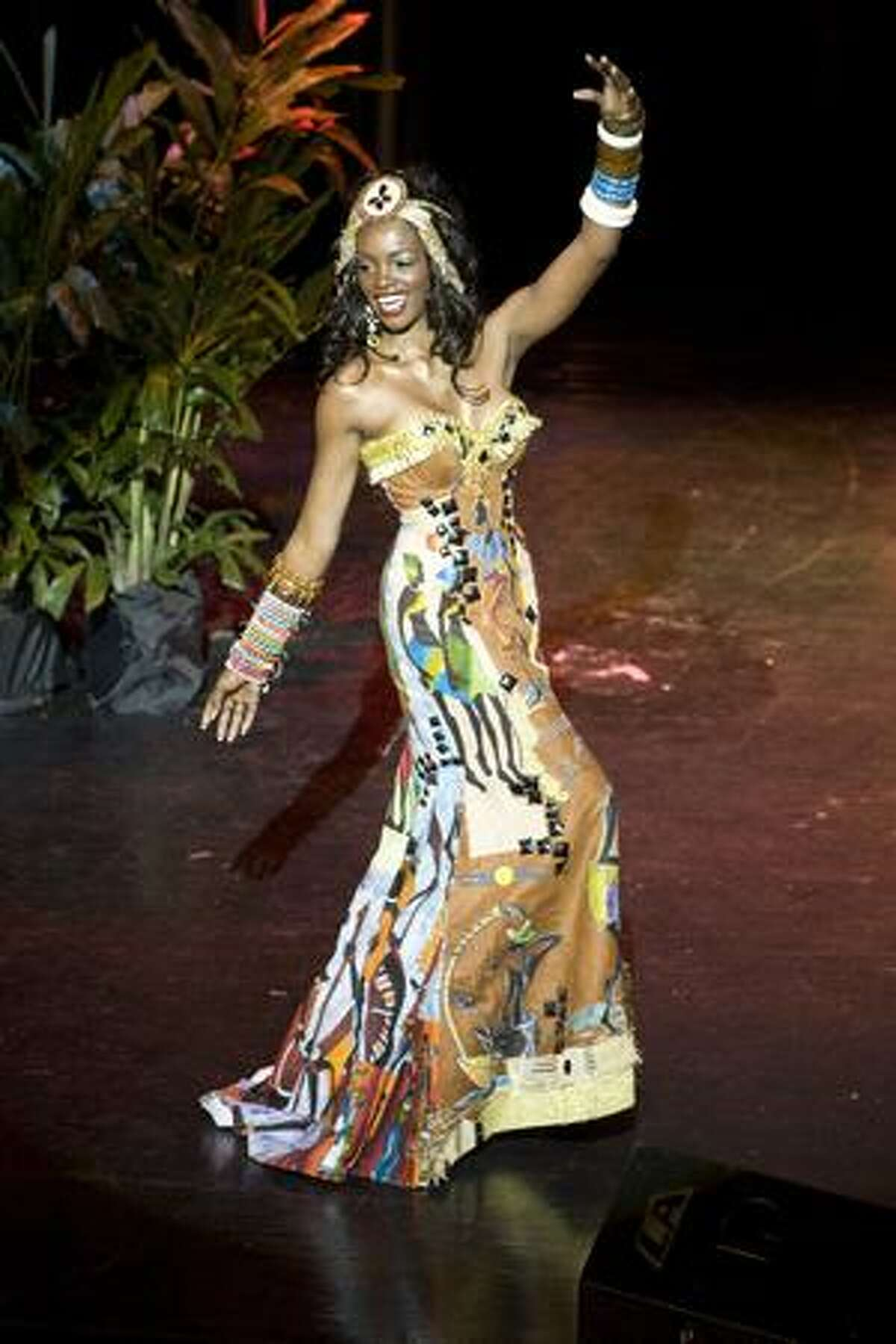 Nelsa Alves, Miss Angola, performs in a national costume show in the Bahamas on Monday as part of the preparations for the Miss Universe 2009 competition, with the winner to be crowned Aug. 23. The national costume show is a traditional part of the run-up to the finals that has no bearing on the choice of Miss Universe.