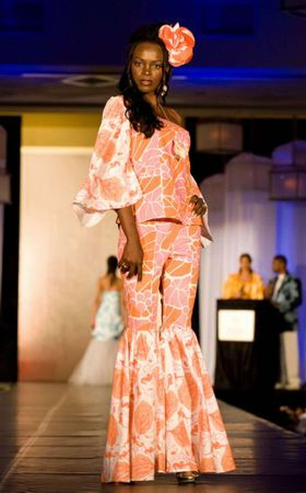 Nelsa Alves, Miss Angola, models a creation designed by Rachel Turnquest-Garcia of Rachel's Boutique at the Fashion Showcase at the Sheraton Nassau Beach Resort in the Bahamas on Aug. 12, 2009. The outfits shown were created and tailored for each Miss Universe contestant featuring Bahamian fabrics. The 84 delegates are in Nassau competing for the title of Miss Universe 2009, which will be decided Sunday night.