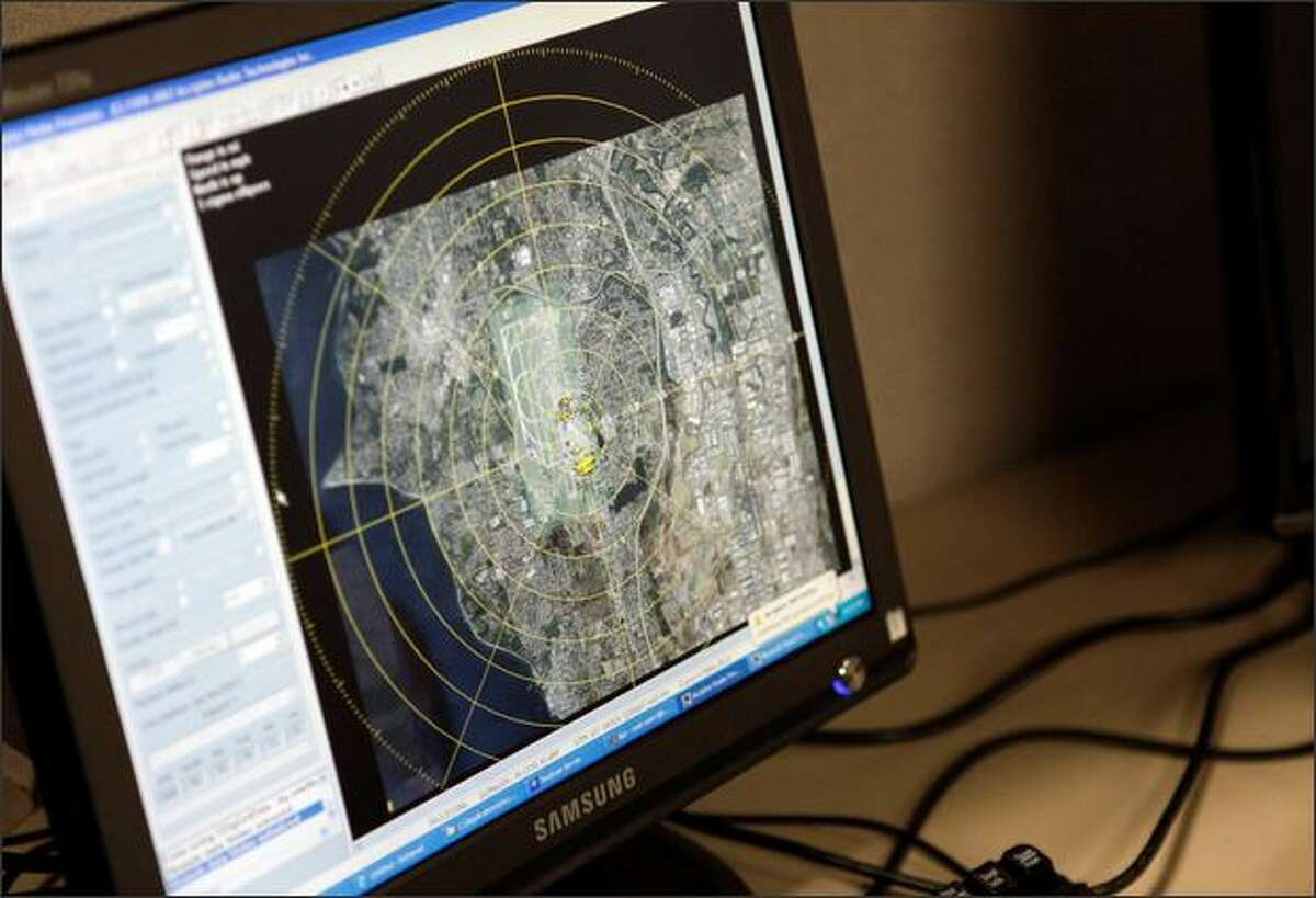 A computer monitor displays data from one of three radars used to monitor bird-flight patterns near Sea-Tac Airport. Eventually, officials hope to automatically deliver the data to air traffic controllers to prevent bird strikes the moment a potential threat develops.