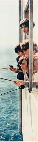 The Beatles fishing from a window in suite 272 at the Edgewater Hotel, Aug. 21, 1964. (Photo courtesy Edgewater Hotel)