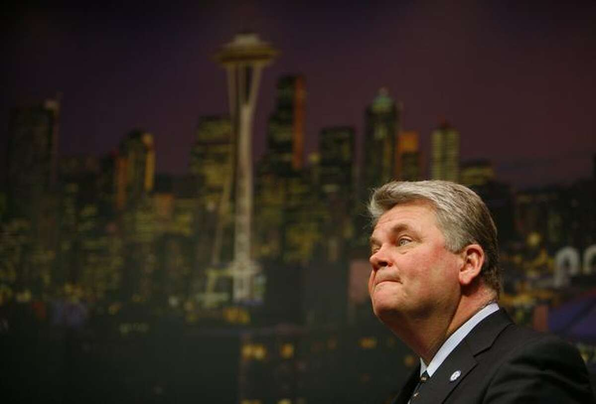 Seattle Mayor Greg Nickels concedes defeat during a press conference in the Mayor's Office.