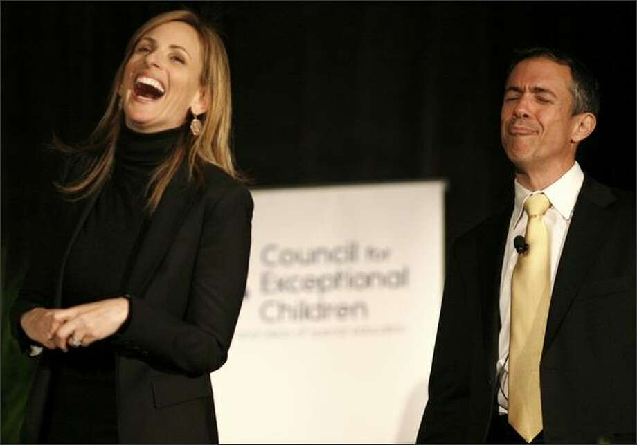 Marlee Matlin jokes with her translator, Jack Jason, during the keynote speech. Photo: Joshua Trujillo/seattlepi.com