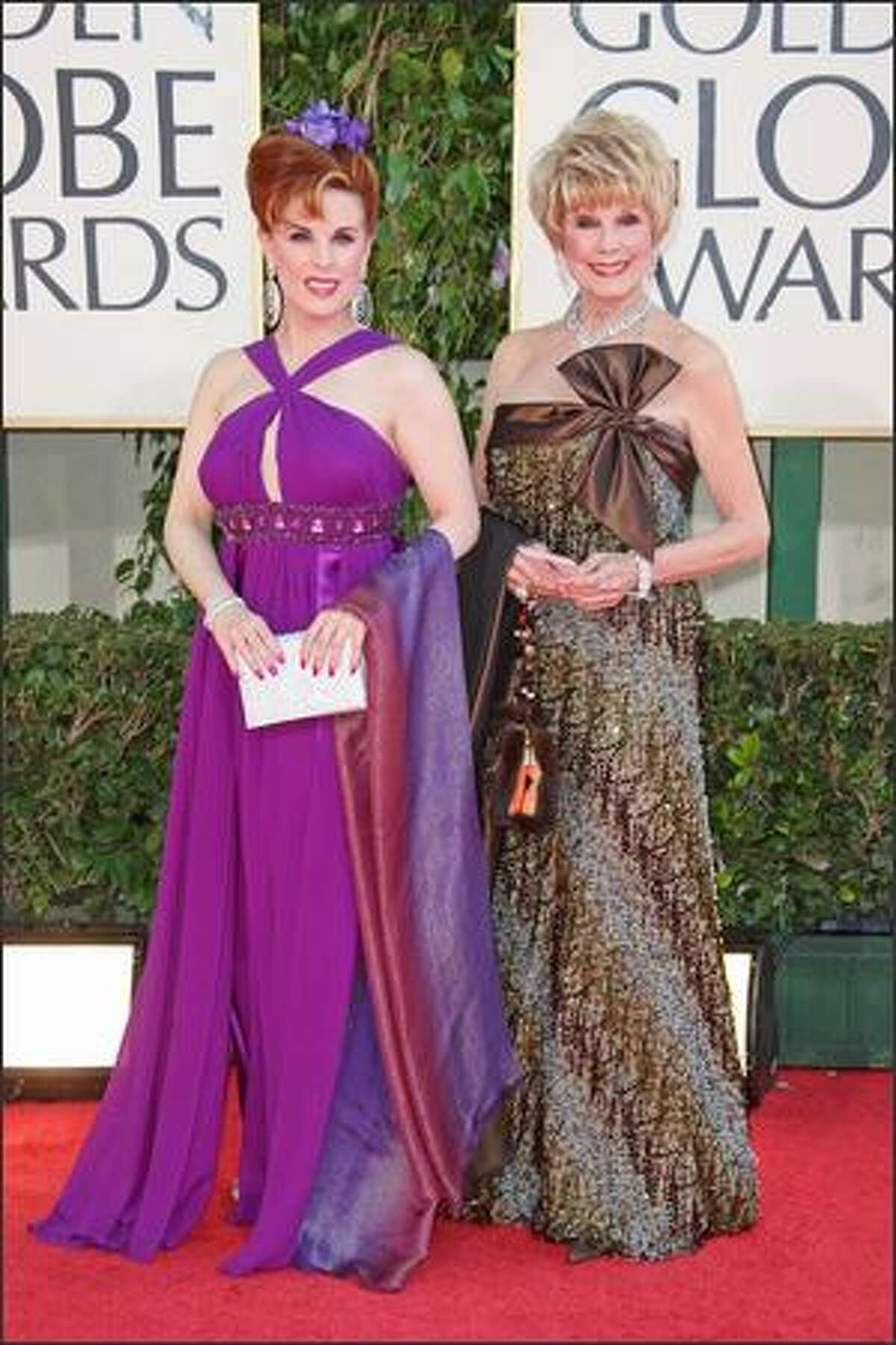 (L-R) Actress Kat Kramer and mother Karen Sharpe Kramer arrives at the 66th Annual Golden Globe Awards held at the Beverly Hilton Hotel in Beverly Hills, California.