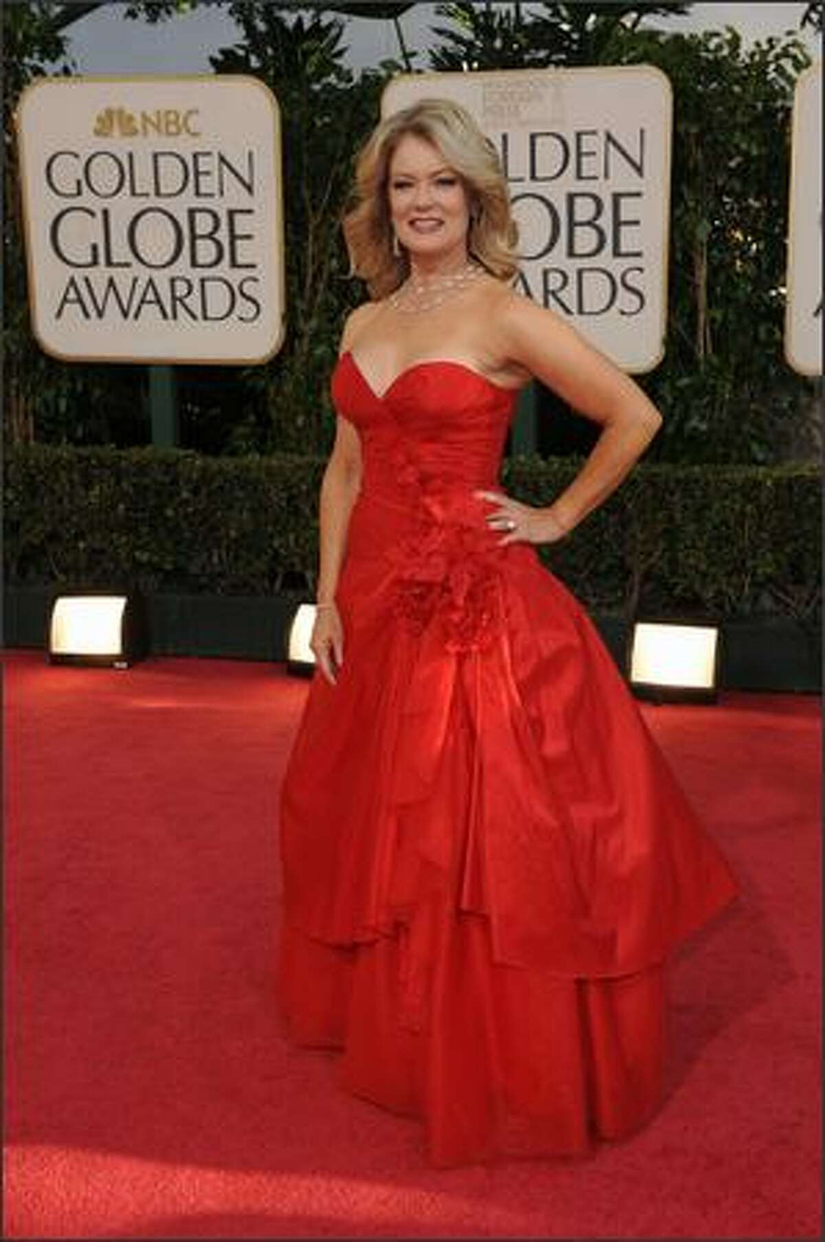 Television personality Mary Hart arrives at the 66th Annual Golden Globe Awards held at the Beverly Hilton Hotel in Beverly Hills, California.