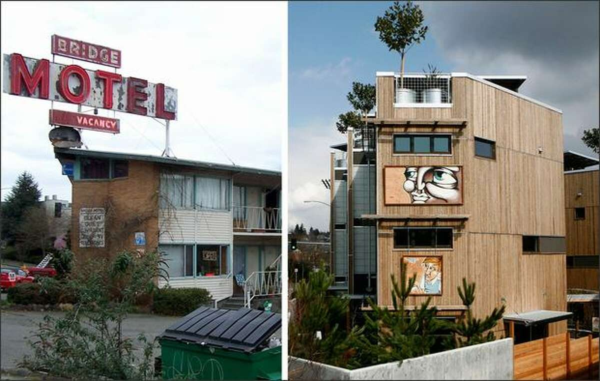 The Bridge Motel, left, and the new Footprint at the Bridge, 7 high-end and modern townhomes that replaced the old Motel, shown in Seattle's Fremont Neighborhood. (Motel photo at left, courtesy of Johnston Architects)