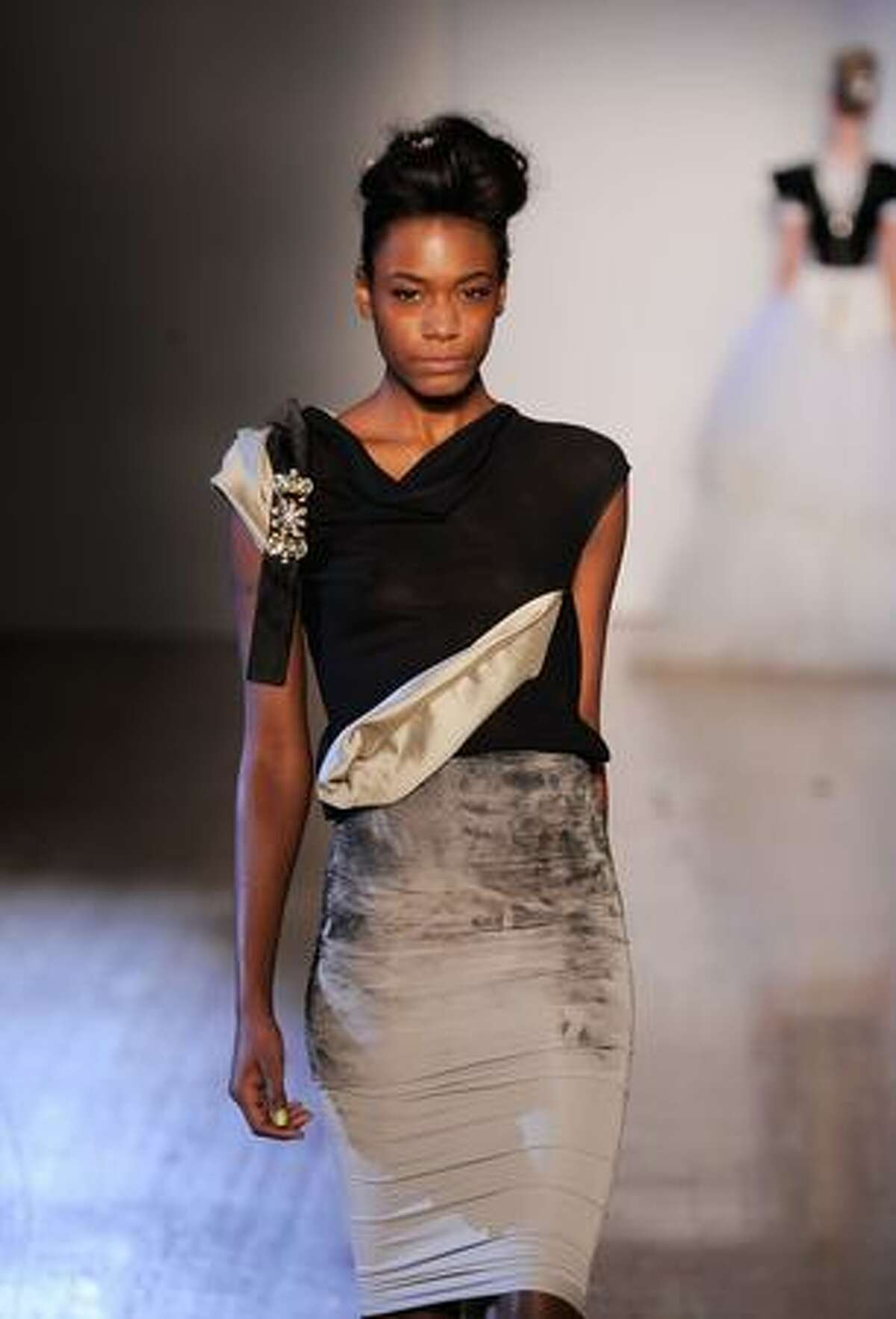 A model walks the runway at the Toni Maticevski Spring 2010 Fashion Show at the Altman Building on Sunday in New York City.